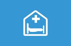 no foto struttura medica icona celeste ospedale con croce e letto bianco